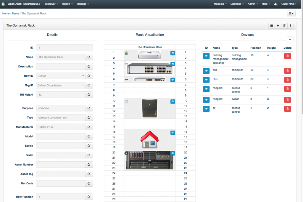 Open-AudIT Racks Feature Screenshot